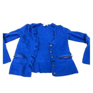 Halogen cerulean blue cardigan with black buttons